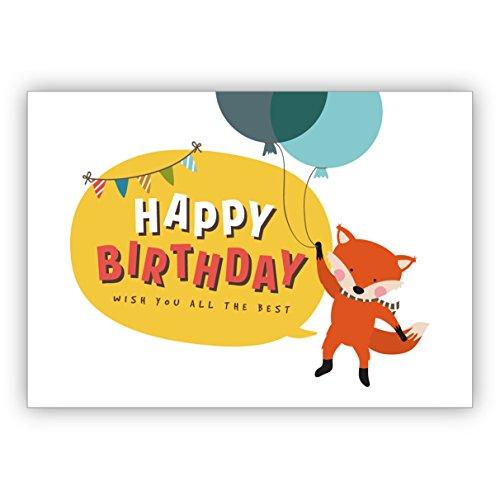 Schattige verjaardagskaart met vliegende vos op ballons: Happy Birthday wish you all the best • mooie felicitatiekaarten met enveloppen voor beste vrienden en lievelingsmensen. 4 Grußkarten