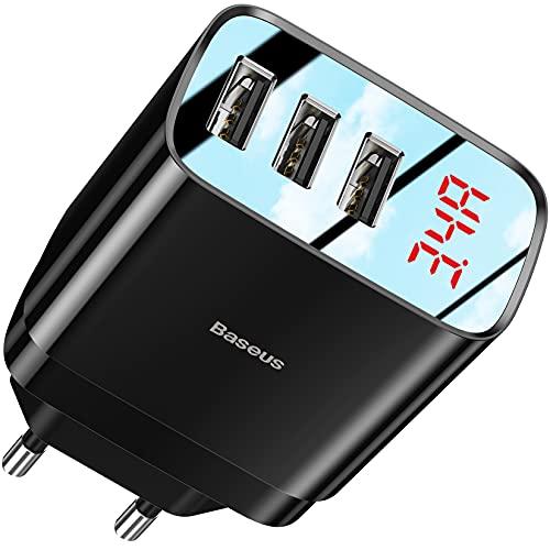 Baseus Cargador USB de Pared con 3 Puertos, 5A/3.4A Rápido Cargador Móvil, Cargador USB Multipuerto Enchufe Europeo para iPhone 12/11/Xs/X Pro Max, iPad, Xiaomi, Huawei, Oneplue y más