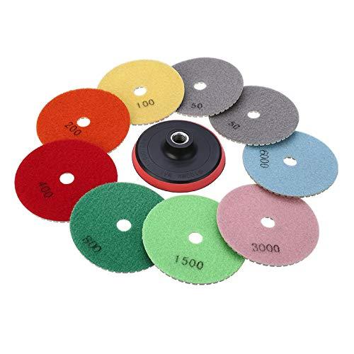 4 Zoll 100mm Dimond Polierscheiben, M14 Klebrige Scheibe + 2x50 /100/200 / 400/800 / 1000/1500 / 3000/6000 Polierpads für Beton Marmor Granit Stein Polieren Set