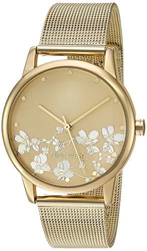 Nine West Women's Gold-Tone Mesh Bracelet Watch, NW/2428FLGP