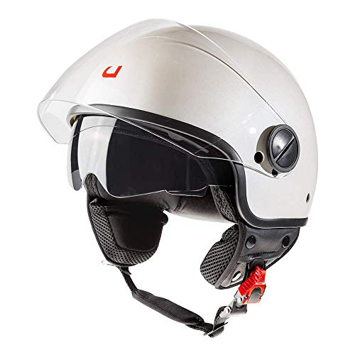 Casco de moto Demi Jet doble visera Best blanco (XL)