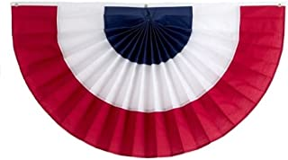 Independence Bunting – 3' x 6' American Made Cotton Flag Bunting. Fully Sewn 3 Stripe Red, White & Blue Patriotic Bunting Banner!