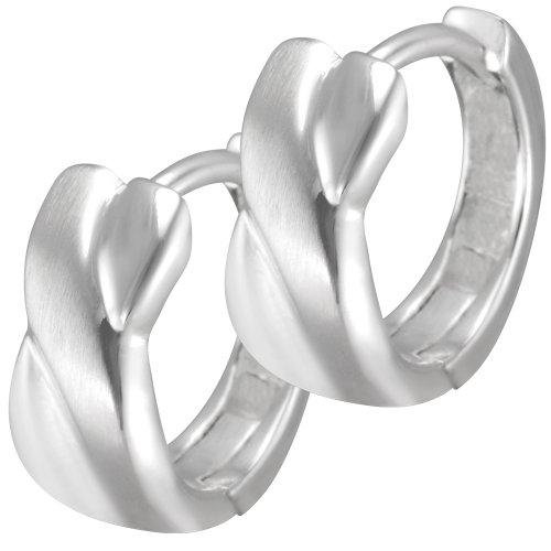 Vinani Klapcreolen banden gekruist mat glanzend sterling zilver 925 oorbellen kruis CEW