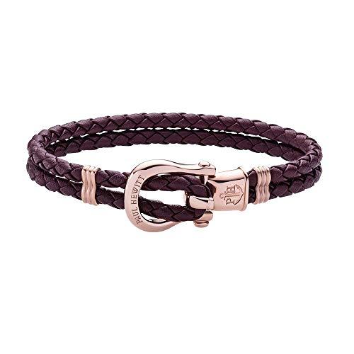PAUL HEWITT Schäkel Armband Damen PHINITY - Leder Armband Frauen (Dark Mauve), Armband Damen mit Schäkel Verschluss aus IP-Edelstahl (Rosegold)
