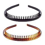 Set of 2 Fashion Plastic Headband Teeth Comb Hairband Hair Hoop Accessory for Women's Lady Girls (Black +Brown)