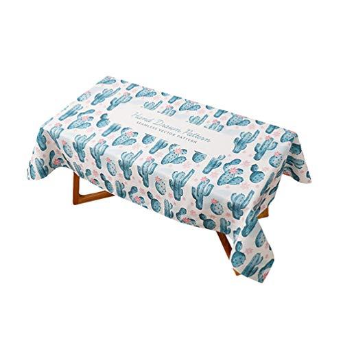 Heheja Grünpflanze Muster Baumwolle Tischtuch Couchtisch Tischdecke Quadratisch Abwaschbar Küchentischabdeckung 5 140 * 180