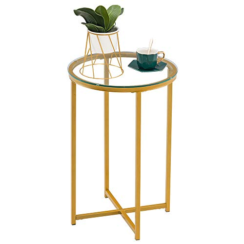 24' Modern Round End Table with Gold Metal Frame Tempered Glass Top Waterproof Outdoor & Indoor Side Table, Nightstand for Living Room, Bed Room, Patio