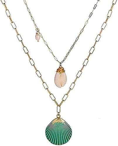 Collar Gold Starfish Shell Collares Largos Colgantes para Mujeres Declaración Conch Cadena Collares Joyas Gargantilla Colgantes Collar Regalo para Mujeres Hombres Niñas Niños