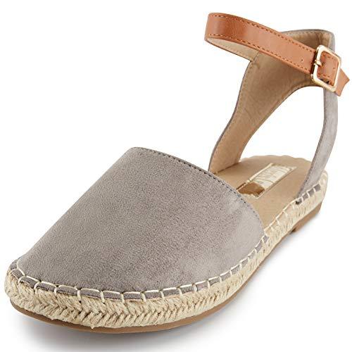 Alexis Leroy Comodidad Color Sólido Sandalias de Punta Cerradas con Tiras con Cordones para Mujer Gris 40 EU