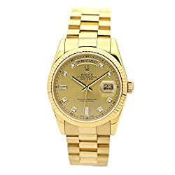 DAY-DATE 36MM Yellow Gols with Diamond Dial Fluted Watch 118238
