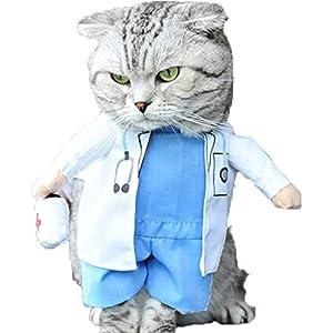 Delifur Dog Halloween Costume Dog Carrying Costume Cat Doctor Costume Pet Doctor Uniform Funny