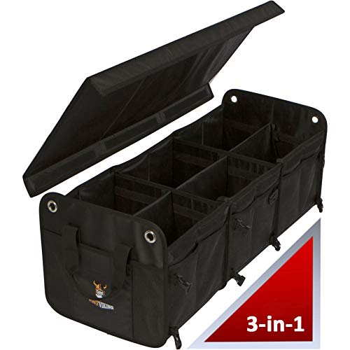 TUFF VIKING Convertible Large 3 Compartment SUV Trunk Organizer   Truck Bed Organizer with Cover for Trucks, Cars, SUVs and Groceries. PATENTED (3-in-1 with Cover, Black)