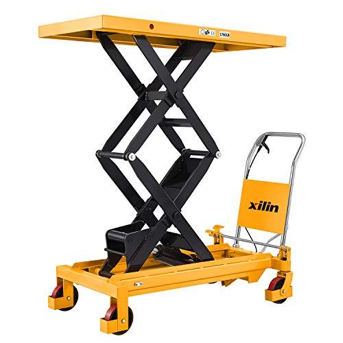 "Xilin Platform Manual Hydraulic Lift Table Cart with Wheels Double Scissor 59.1"" Lifting Height 1760lbs Capacity"