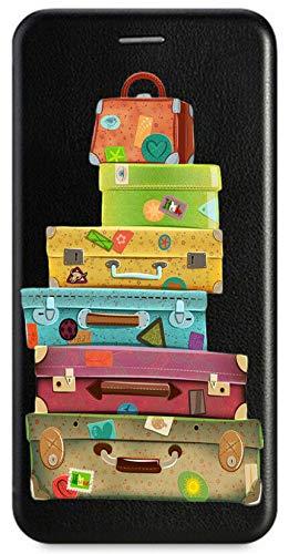Mixroom - Custodia Cover Case a Libro Nero per XIAOMI REDMI Note 6 PRO con Stand in Ecopelle Chiusura Magnetica Parte Interna in TPU Morbida Fantasia LB88 VALIGIE Colorate Viaggiare