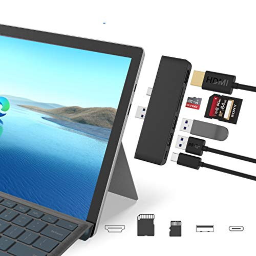 Rytaki Microsoft Surface Pro 7 USB C Hub Docking Station, 6-in-2 Aluminium Surface Pro 7 USB Hub mit 4K HDMI, Type C Port, 2 x USB 3.0-Ports, SD/TF Kartenleser für die Surface Pro 7(2019)