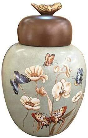 Crematie Urn, The Urn Crematie Ceramic is een mensenrecht As Volwassenen en Grote Animal Coffin, Vogel Cover, geschikt for decoratie of Burial (Size : Large)