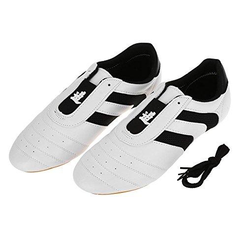Keenso Scarpe Taekwondo, Sneaker per Arti Marziali Sneaker con Strisce Nere Scarpe Leggere per Adulti e Bambini(36(Inside Length 23cm))