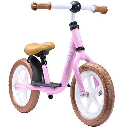 Löwenrad Kinder Laufrad ab 3, 4 Jahre, 12 Zoll Jungen und Mädchen leichtes Lauflernrad höhenverstellbar, tiefer Einstieg, Rosa
