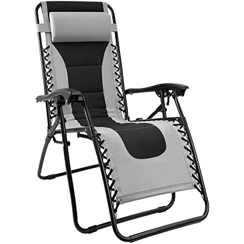Homall Zero Gravity Chair Patio Padded Recliner Outdoor Oversized Portable Lounge Chair Adjustable Lawn Folding Chair with Headrest (Grey)