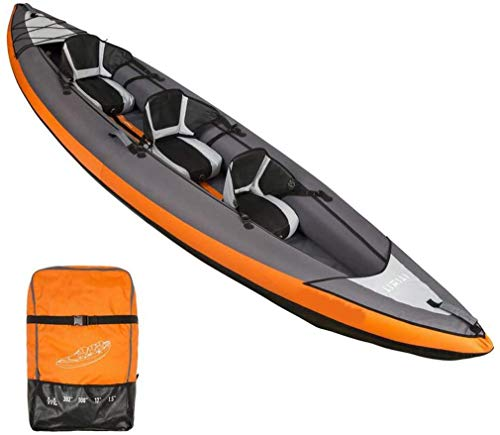 AA-PHUJ DMUC Inflatable Kayak Yukon, 3 Man Canadian Canoe, Sea Kayak with Bag, 382X 108 Cm