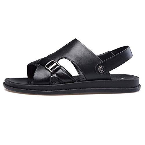 Czcrw Al aire libre de los hombres de punta abierta de cuero casual zapatos de confort sandalias Cómodos zapatos de playa transpirables de cuero de doble uso zapatos de cuero casuales sandalias zapati
