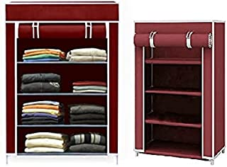 MOM'S GADGETS Collapsible Fabric Wardrobe Organizer for Clothes (Iron and Non Woven Fabric) Maroon, 4 Layer