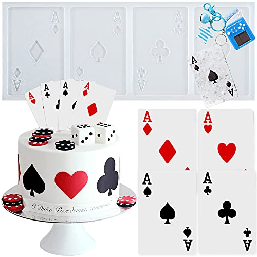 Playing Cards 4 Aces Poker Four of a Kind Fondant Silicone Mold