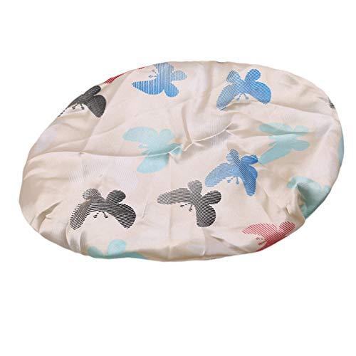 Kaned réutilisable Bonnet de Douche Fleur imprimé Bonnets de Bain Salon de beauté Spa Douche Bonnets, Papillon sur Fond Beige