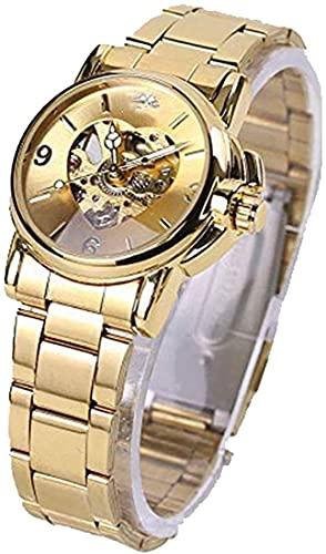 QHG Jolies Montres Marque de Luxe Mode Femme Automatique Hollow Hollow Out Horloge Robe de Dame Montres (Color : Gold)