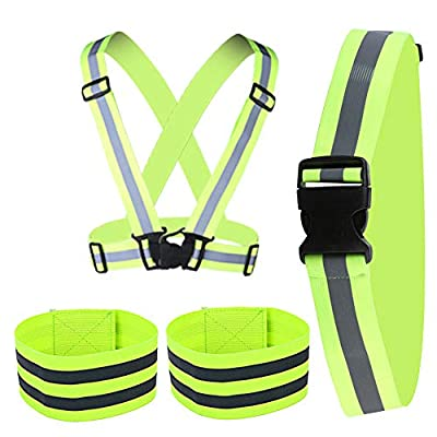 POLARHAWK Reflective Vest, Adjustable Reflective Vest Running Gear with Reflective Glow Belt and 2 Pack Reflector Armbands for Night Cycling Walking Jogging Running Dog Walking