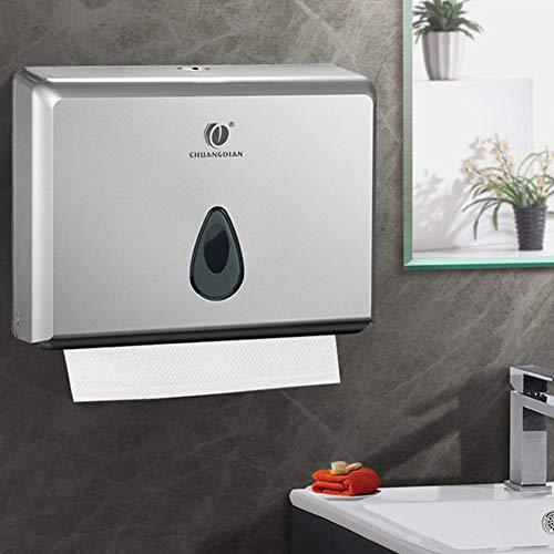 Papierhandtuchspender Wandmontage Papierhandtuchhalter Abschließbar Handtuchspender mit Schlüssel Papiertuchspender für Toilette Baderzimmer 200 Blätter Silber