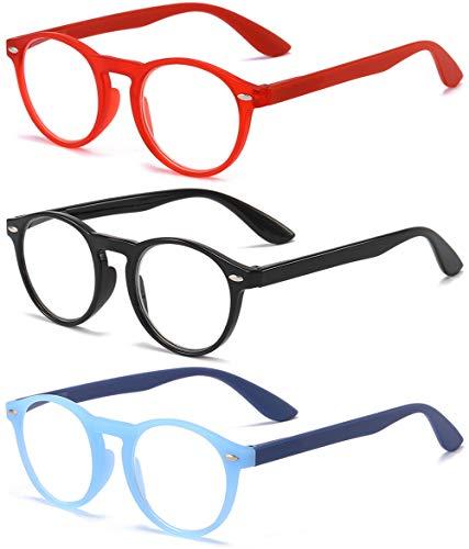 VEVESMUNDO® Lesebrillen Damen Herren Retro Runde Lesehilfe Sehhilfe Arbeitsplatzbrille Nerdbrille Hornbrille mit Stärke Schwarz Leopard Blau Rot Brau (3 Stück Lesebrillen(Rot+Schwarz+Blau), 3.0)