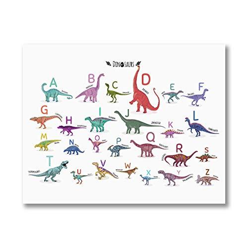 Alfabeto Dinosaurio Estampado de Animales ABC Aprender Letra Cartel Educativo Arte de...