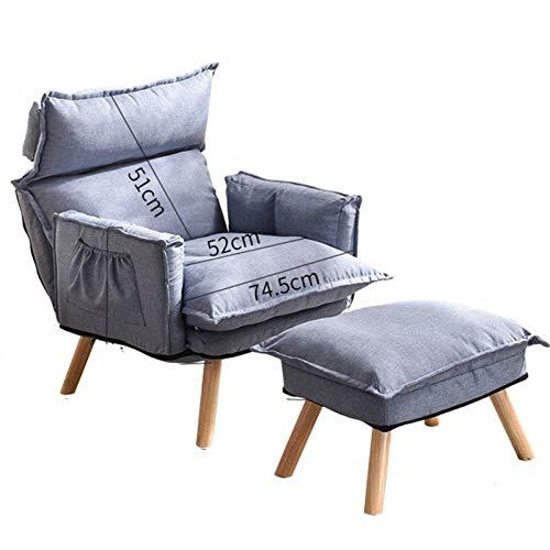 WHOJA Silla Tumbona Plegable Meditación Respaldo ajuste de 6 velocidades Sillón Diseño de almacenamiento Asiento de lino de algodón para Dormitorio, sala de estar, estudio Sillon Re(Color:azul zafiro)