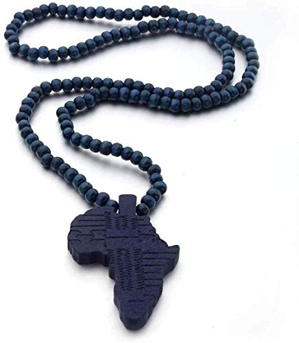 huangshuhua Collar de Mapa para Mujer Vintage Azul Marino Madera África Mapa Colgante Collares con Cadena Azul Marino Regalo de joyería de la Amistad de Hip Hop