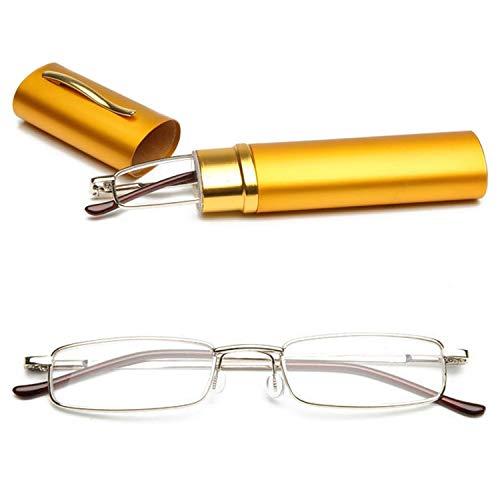 VEVESMUNDO® Lesebrille Metall Klassische Scharnier Schmal Stil Brille Lesehilfe Augenoptik Vollrandbrille Mit Etui (Gelb, 4.0)