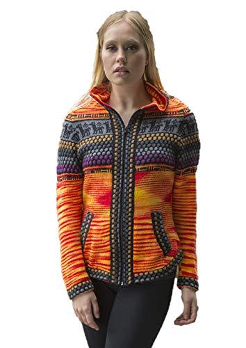 Gamboa - Alpaca Cardigan for Women - Alpaca Hooded Sweater - Orange