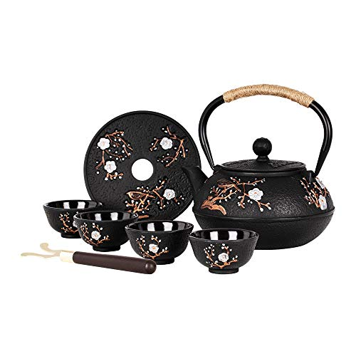 Japanese Style Cast Iron Teapot with 4 Tea Cups Trivet Tetsubin Tea Kettle with Infuser Chinese Iron Tea Set Black Gift for Adults Family Friend (Magpie and Plum Pattern)