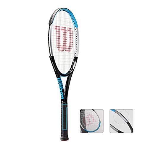 Chunjiao Raqueta de Tenis La Fibra de Carbono Masculino Y Femenino Individual Profesional Pequeño Azul Raqueta de línea de Base del diseño geométrico (Color : Blue-b, Size : 27in)