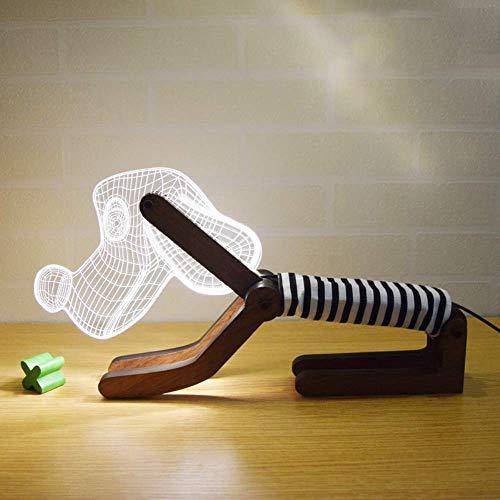 Bright love 3D Chien Style Lampe de Table Creative Lampe Cadeau LED Couple USB gaz atmosphérique Oeil lit Chien Lampe de Nuit,Black