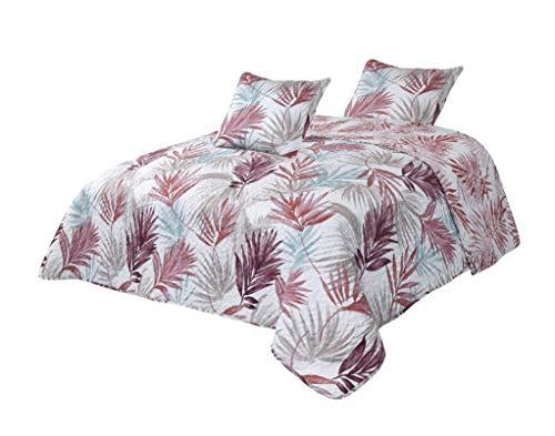 Montse Interiors Colcha Boutí Reversible Hojas Palmera Rosa+Cuadrantes (Palm, 200x260+1 cuadrante (para Cama de 105/110/120))