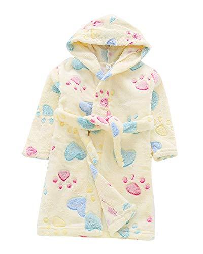 Toalla para Niños con Capucha Super Suave Cómoda Terry Albornoz Bata Pijama Ropa Housecoat MZ Amarillo 130