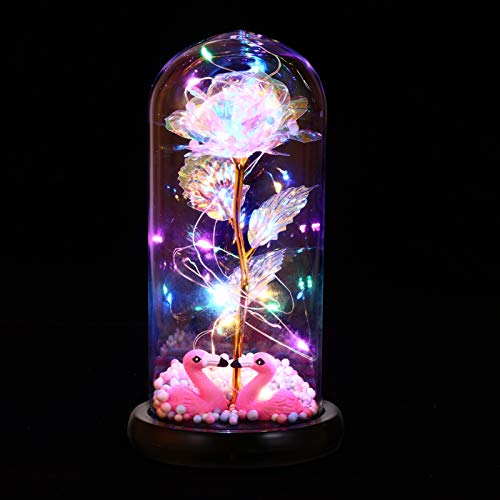 Uonlytech Crystal Enchanted Rose in Glass Dome with Lights, Colorful Galaxy Rose Artificial Flowers, Decorations for Valentines Day, Mothers Day, Christmas, Birthday Gifts for Women Girls Friends