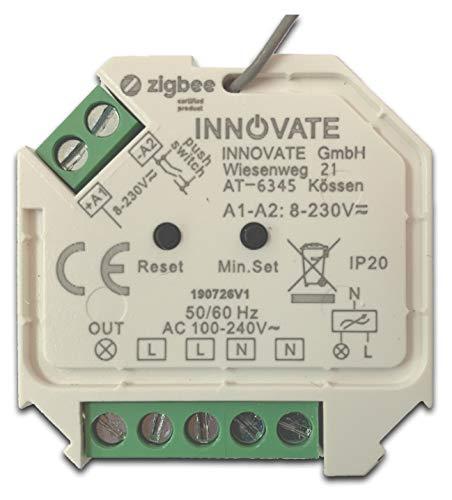 Zigbee 3.0 Dimmactor Mini (45,5 x 45,5 x 20,3 mm) voor inbouwdoos - bliksinbouw geschikte dimmactor - 1 kanaal, max. 200 of 400 watt. Dimt LED-lampen via faseafsnijding dimmer