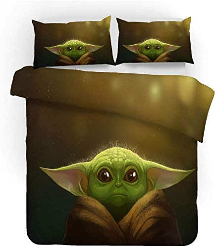 QWAS Juego de ropa de cama de la serie Star Wars de 100% microfibra, funda nórdica para niños, dibujos animados, juego de 3 piezas (A2,220 x 240 cm + 80 x 80 cm x 2).