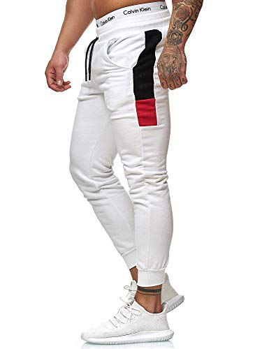OneRedox Herren Jogging Hose Jogger Streetwear Sporthose Modell 1268 Weiss M