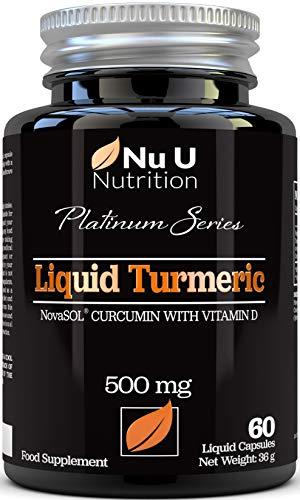 Cápsulas de Cúrcuma Curcumina (Líquidas) con Vitamina D | 185 Veces Más Biodisponibilidad Curcumina NovaSOL | Curcuma Curcumina Líquida Vegetariana de Calidad Superior de Alta Potencia