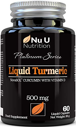 Turmeric Curcumin Capsules (Liquid) with Vitamin D | 185 More Bioavailability NovaSOL Curcumin | High Strength Vegetarian Premium Liquid Turmeric Curcumin not Tablets Made in The UK