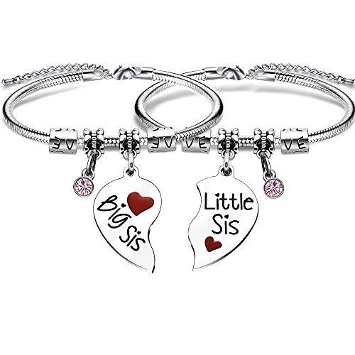 Armband für Schwester, Geschenk mit Schlangenanhänger für 2 Schwestern