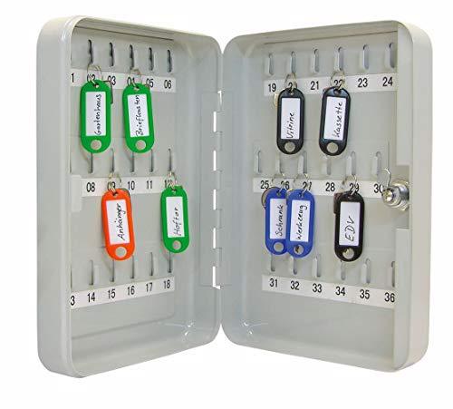 Wedo 10253637X Schlüsselschrank (für 36 Schlüssel, pulverbeschichtetes Stahlblech 18 x 6 x 25 cm, Sicherheitsschloß inklusive 2 Schlüssel, lichtgrau